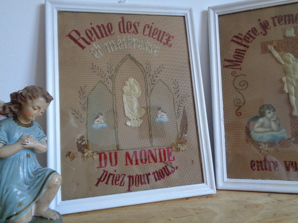 画像1: マリア様とエンジェルの刺繍画