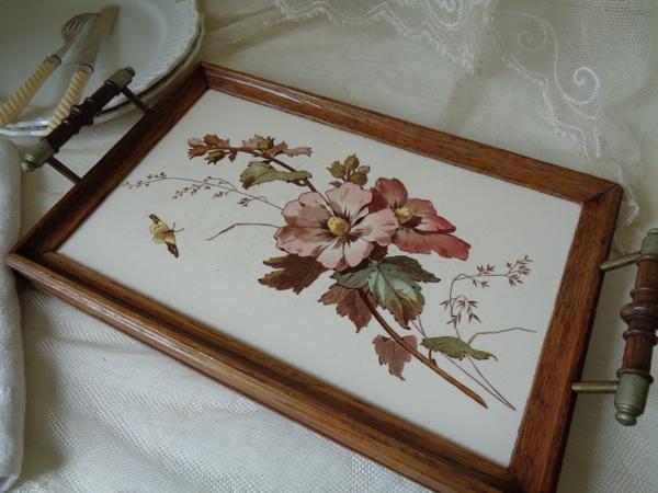 画像1: 陶器花柄トレイ