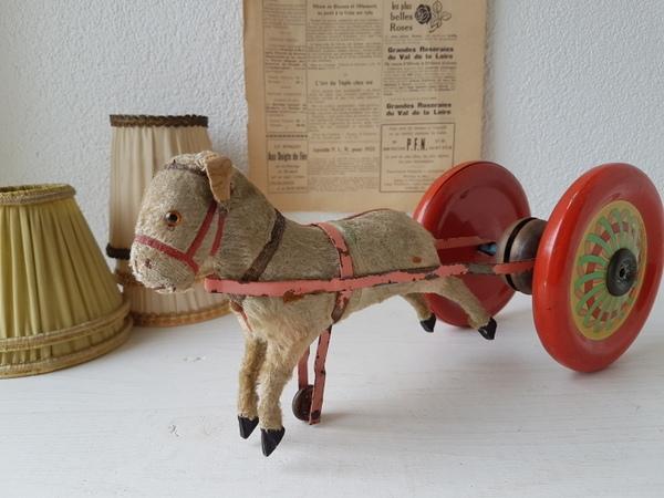 画像1: 車輪付きアンティ―ク木馬