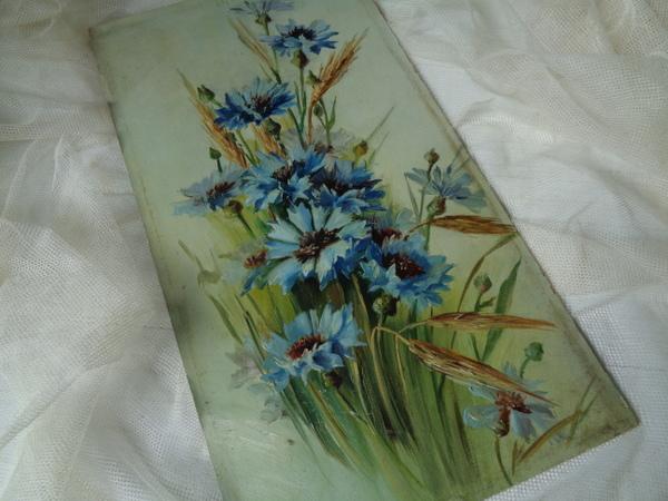 画像1: 花柄油絵