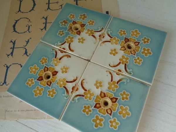 画像1: 花柄アンティークタイルセット