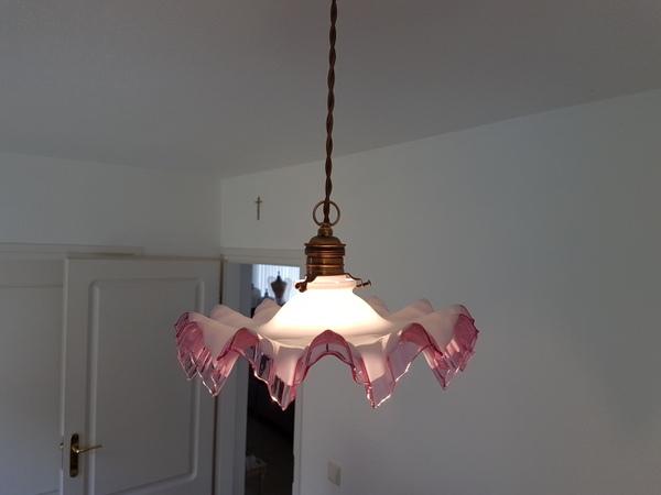 画像1: ピンクリムガラスランプシェード