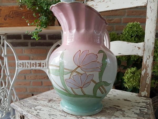 画像1: ホーローアールヌーボー花柄ピッチャー
