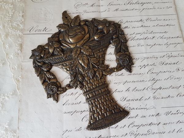 画像1: 花かご真鍮装飾パーツ