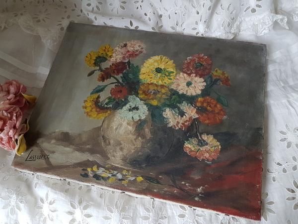 画像1: ダリアの油絵