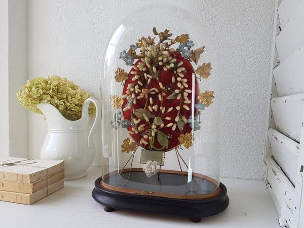 画像1: ワックスフラワーグローブドマリエガラスドーム