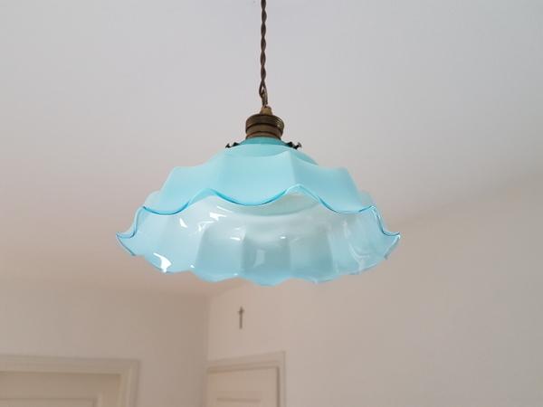 画像1: ブルーオパリンガラスランプシェード