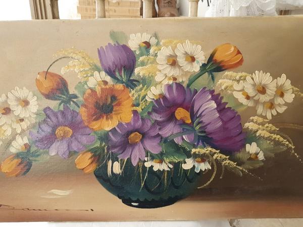 画像1: 花の油絵
