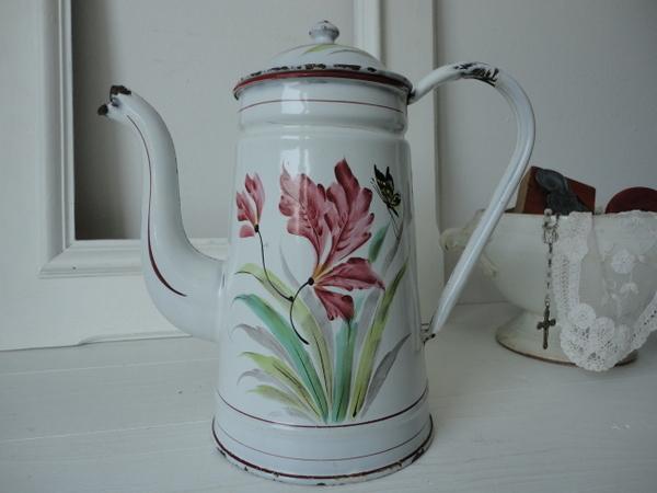画像1: カトレヤと蝶々柄コーヒーポット