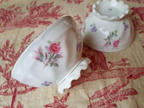 画像1: フリルフット花柄カフェオレボウル