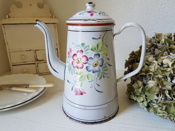 画像1: ホーロー花柄コーヒーポット