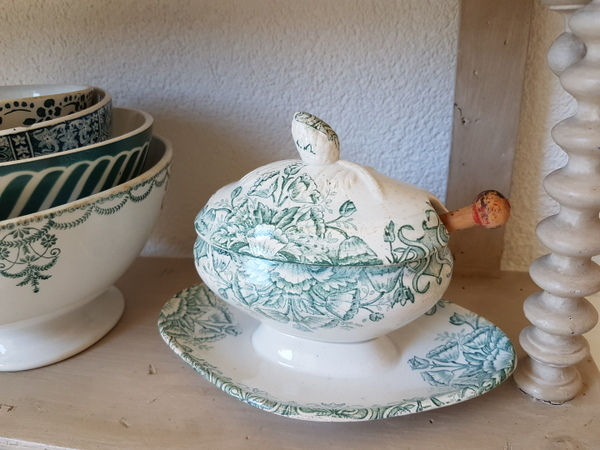 画像1: 陶器製蓋付き花柄マスタードポット