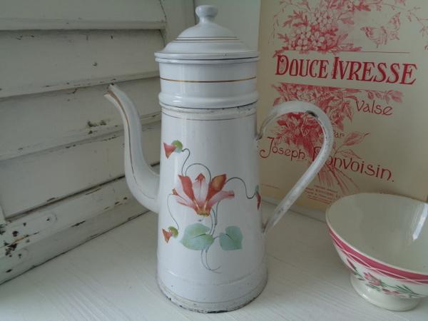 画像1: ホーローアールヌーボー花柄コーヒーポット