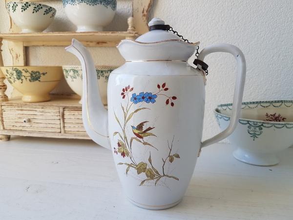 画像1: ホーロー白小鳥柄コーヒーポット