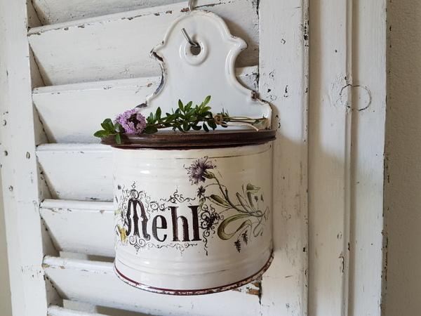 画像1: 白ホーロー花柄フラワー缶
