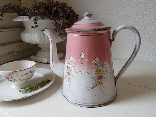 画像1: ホーローピンクローズ柄コーヒーポット