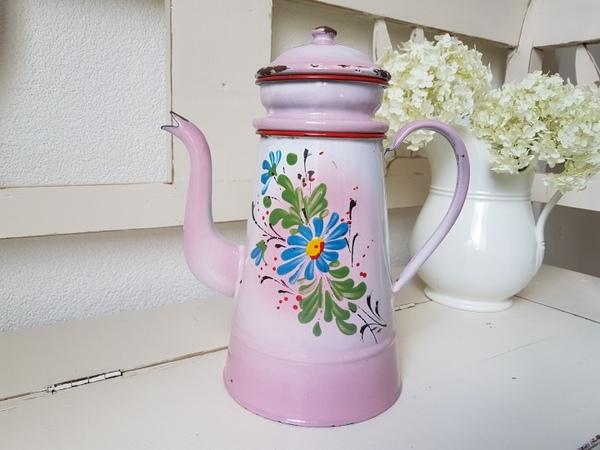 画像1: ホーローピンク手描きコーヒーポット