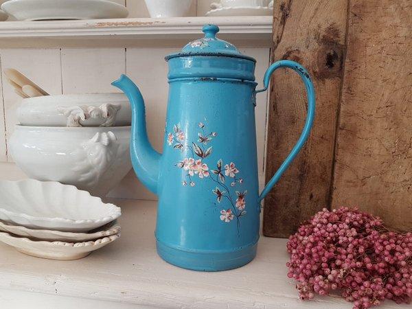 画像1: アンティ―クホーロー花柄コーヒーポット