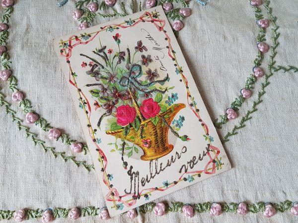 画像1: 花かごすみれとローズ柄カード