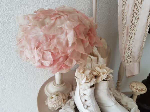画像1: ピンクの布花ハット