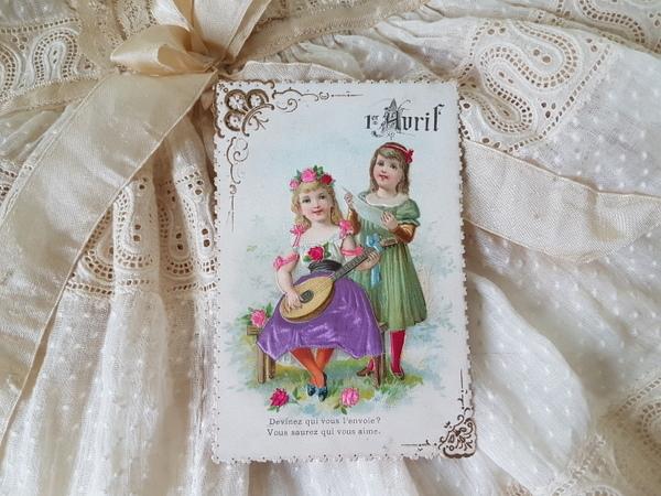 画像1: Avruil少女のアンティ―クカード