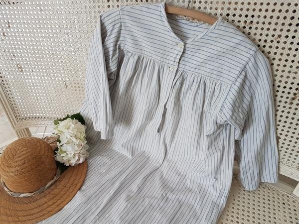 画像1: ストライプリネンナイトドレス