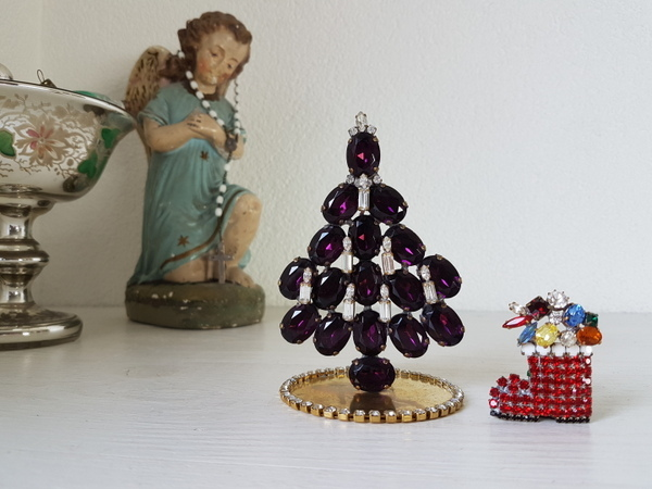 画像1: チェコガラスクリスマスツリーとブローチセット